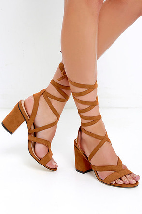 Star Power Cognac Suede Lace-Up Heels at Lulus.com!
