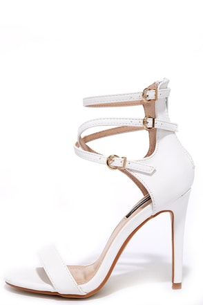 By Lamplight White Ankle Strap Heels at Lulus.com!