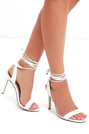 Turn It Up Champagne Leg Wrap Heels at Lulus.com!