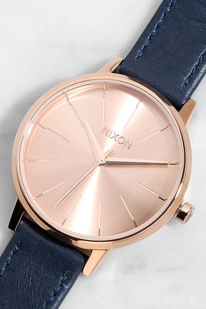 Nixon Kensington Leather Rose Gold and Taupe Watch at Lulus.com!
