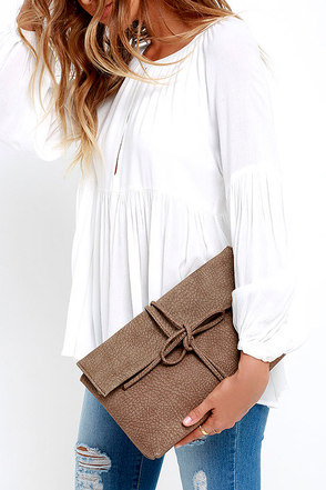 Tying to See Ya Light Grey Clutch at Lulus.com!
