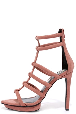 Privileged Lomora Pink Suede Leather Caged Heels at Lulus.com!