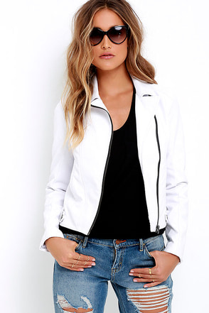 Jack by BB Dakota Kenickie White Vegan Leather Moto Jacket at Lulus.com!