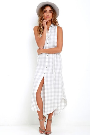 BB Dakota Lance Grey Plaid Maxi Dress at Lulus.com!