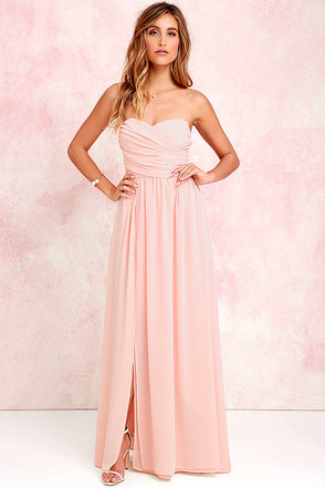 Moonlight Serenade Red Strapless Maxi Dress at Lulus.com!