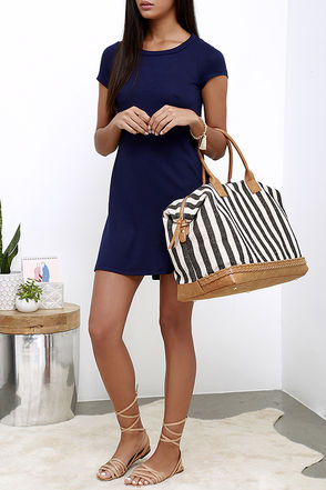 I Think I Canvas Blue Striped Weekender Bag at Lulus.com!