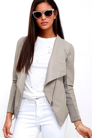 BB Dakota Murphy Taupe Vegan Leather Jacket at Lulus.com!