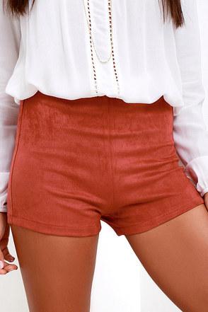 Introducing Ensenada Rust Red Suede Shorts at Lulus.com!