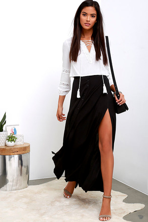 Still Groovin' Black Maxi Skirt at Lulus.com!