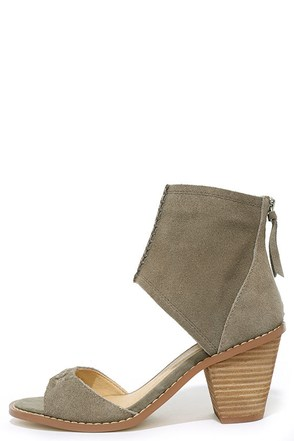 Chinese Laundry Cobbler Grey Suede Ankle Cuff Heels at Lulus.com!