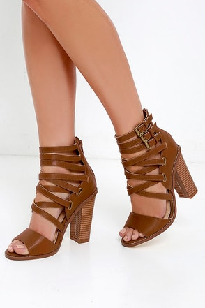 Strut Your Stuff Cognac Caged Heels at Lulus.com!
