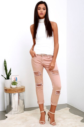 Obey Ex-Boyfriend Distressed Blush Boyfriend Jeans at Lulus.com!