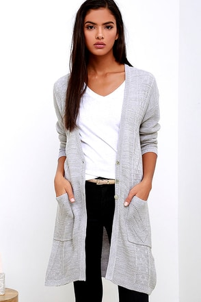 Obey Duster Grey Long Cardigan Sweater at Lulus.com!