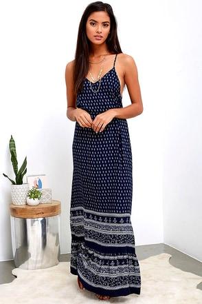 Bright Morning Navy Blue Paisley Print Maxi Dress at Lulus.com!