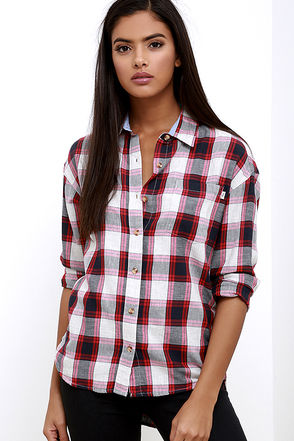 Obey Fischer Navy Blue and Red Plaid Button-Up Top at Lulus.com!