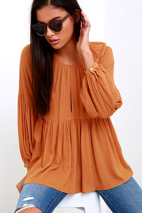 Limitless Love Burnt Orange Long Sleeve Top at Lulus.com!