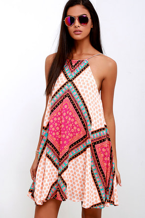 Mink Pink African Trance Orange and Pink Print Dress at Lulus.com!