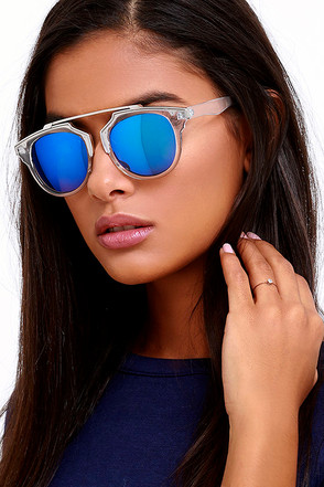 Retro Me, Oh My Clear and Blue Mirrored Sunglasses at Lulus.com!