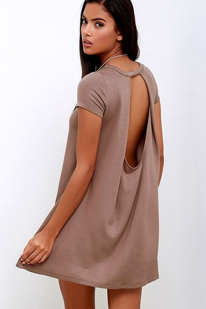 Made You Look Brown Swing Dress at Lulus.com!