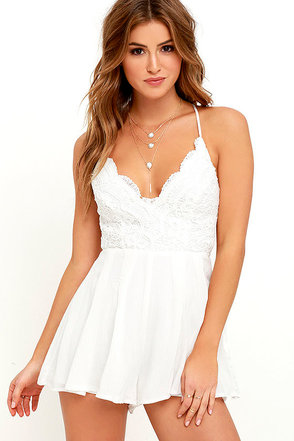 Star Spangled Ivory Backless Lace Romper 1