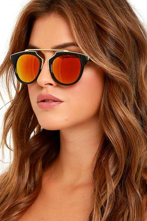 Retro Me, Oh My Black and Orange Mirrored Sunglasses at Lulus.com!