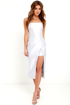 Keepsake High Rise Light Grey Strapless Midi Dress at Lulus.com!