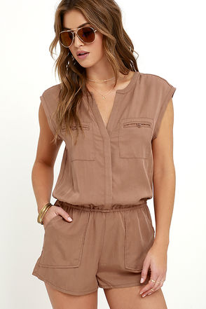 Gentle Fawn Flight Washed Brown Romper at Lulus.com!