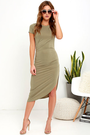 Capital City Charcoal Grey Midi Wrap Dress at Lulus.com!
