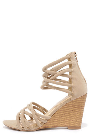 Pure Instinct Nude Suede Caged Wedges at Lulus.com!