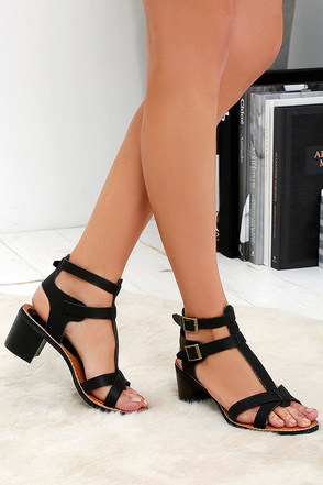Sea Castle Black Heeled Sandals at Lulus.com!