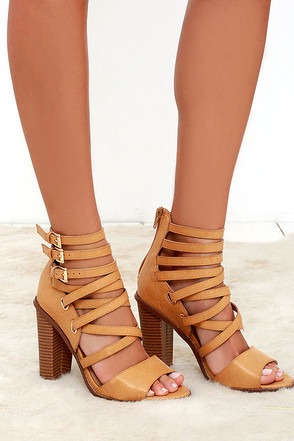 Strut Your Stuff Nude Caged Heels at Lulus.com!