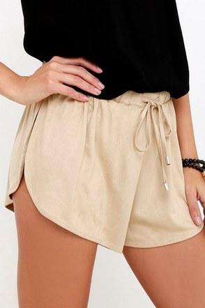 Nightwalker Sporty Spice Beige Suede Shorts at Lulus.com!
