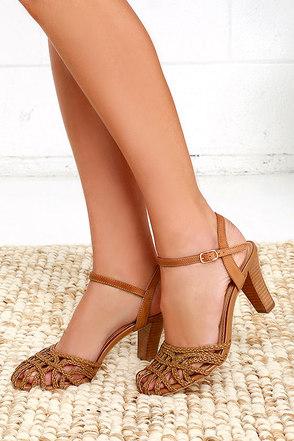 Seychelles Precious Tan Woven High Heel Sandals at Lulus.com!