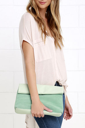 Let's Roll Mint Green Suede Leather Clutch at Lulus.com!