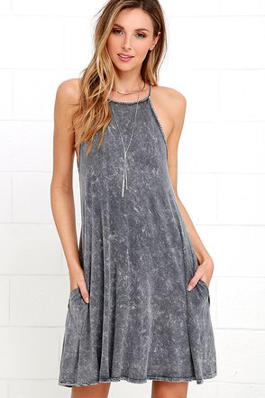Over the Moon Washed Grey Swing Dress at Lulus.com!