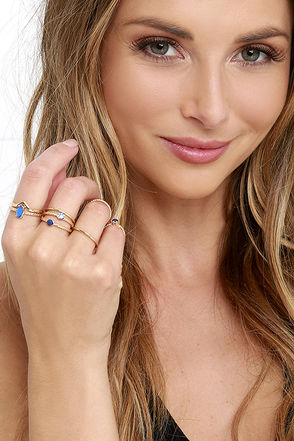 Let Your Heart Decide Gold And Blue Ring Set at Lulus.com!