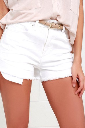Life is a Highway White High-Waisted Denim Shorts at Lulus.com!