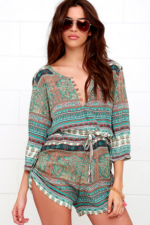 Mila Gypsy Playsuit Turquoise Print Romper Beach