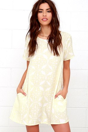 Obey Ursula Pale Yellow Print Shift Dress at Lulus.com!