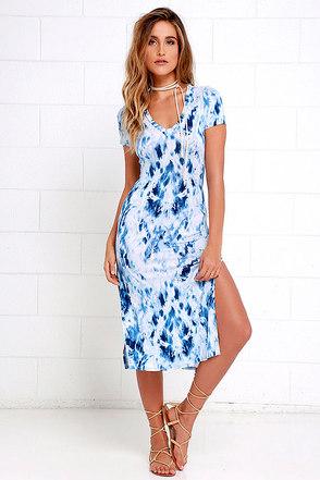 Let Me Sea Blue Tie-Dye Midi Dress at Lulus.com!
