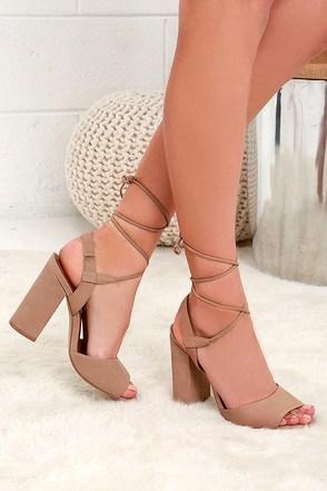 Steve Madden Serrina Camel Leather Lace-Up Heels at Lulus.com!