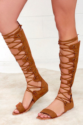Thank You Kindly Cognac Suede Tall Gladiator Sandals at Lulus.com!