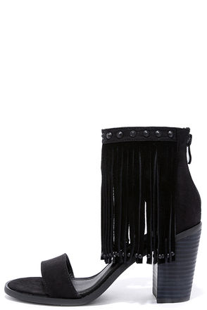 Very Volatile Lux Black Suede Leather Fringe Heels at Lulus.com!