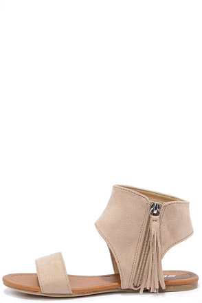 Sunshine Darling Oat Beige Suede Fringe Sandals at Lulus.com!