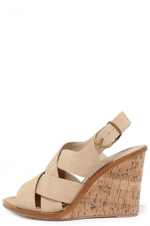 Al Fresco Beige Wedge Sandals at Lulus.com!