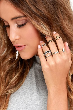 Timeless Trinkets Gold Ring Set at Lulus.com!