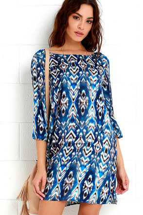 Feather Folklore Blue Print Shift Dress at Lulus.com!