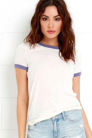 Obey Sold Out Blue-Violet and Cream Tee 1