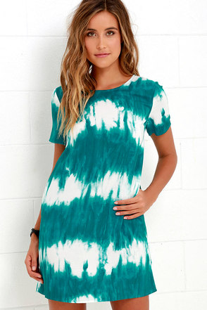 Seawall Ivory and Teal Print Shift Dress at Lulus.com!
