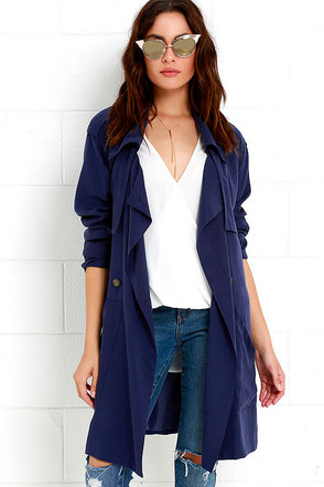 Dapper Delight Indigo Blue Trench Coat at Lulus.com!